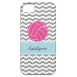 Modern Chevron Zigzag Pink Volleyball iPhone Case