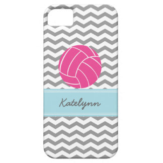 Modern Chevron Zigzag Pink Volleyball iPhone Case Barely There iPhone 5 Case