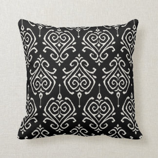Modern chic black and white damask ikat pillow cushions