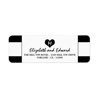 Modern Chic Black and White Wedding Return Address Label