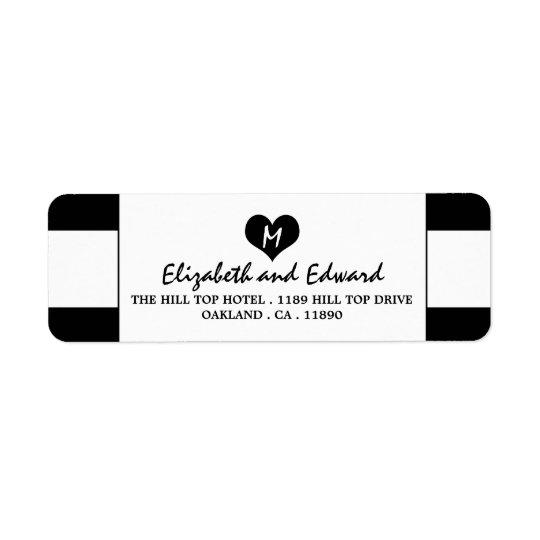 Modern Chic Black and White Wedding Return Address Label