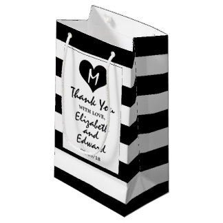 Modern Chic Black and White Wedding Small Gift Bag