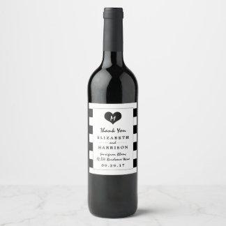 Modern Chic Black and White Wedding Wine Label