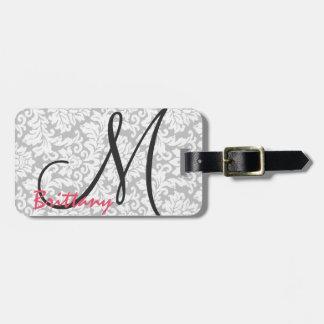 Modern Chic Black Monogram on Gray Damask Luggage Tag