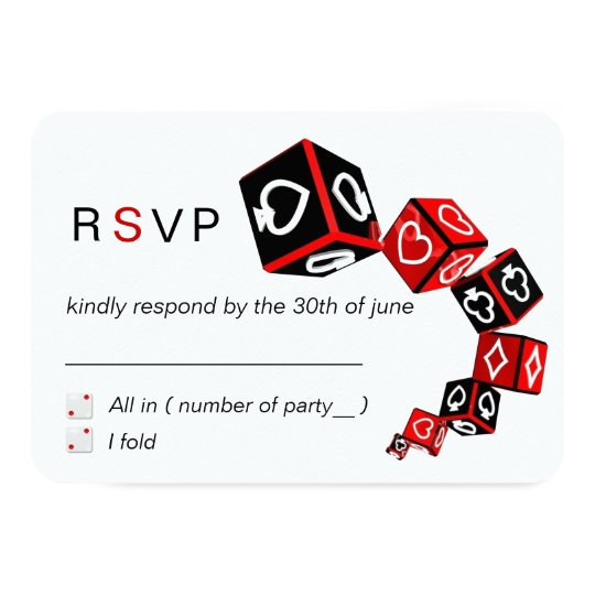 Modern Chic Black Red White Casino Vegas RSVP Card