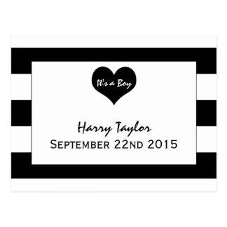 Modern Chic Black & White Baby Boy Announcement Postcard