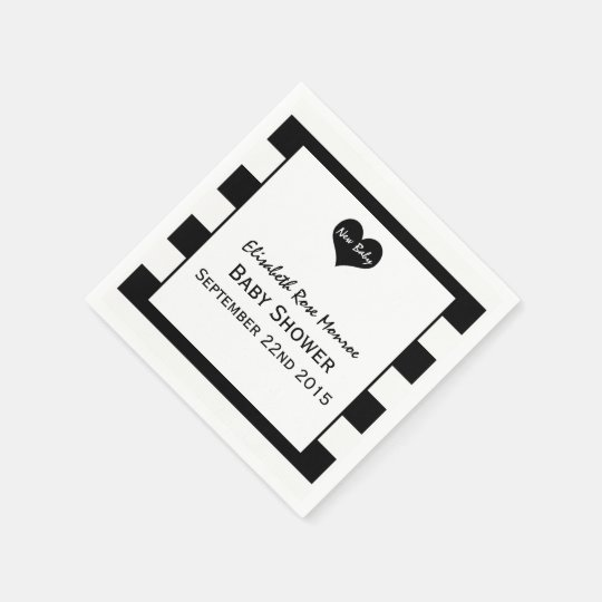 Modern Chic Black & White Baby Shower Paper Napkins
