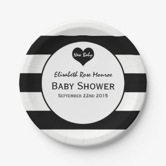 Modern Chic Black & White Baby Shower Paper Plate