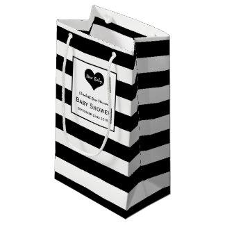 Modern Chic Black & White Baby Shower Small Gift Bag