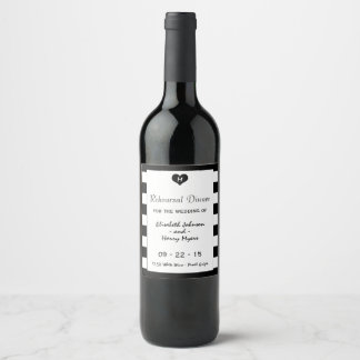 Modern Chic Black & White Wedding Rehearsal Dinner Wine Label