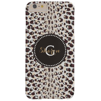 Modern chic brown cheetah print pattern monogram barely there iPhone 6 plus case