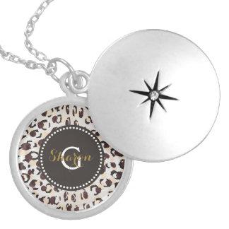 Modern chic brown cheetah print pattern monogram round locket necklace