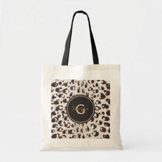 Modern chic brown cheetah print pattern monogram tote bag