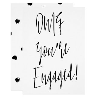 """Modern chic calligraphy """"OMG you're engaged"""" 13 Cm X 18 Cm Invitation Card"""