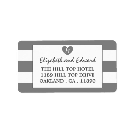 Modern Chic Charcoal Wedding Address Label