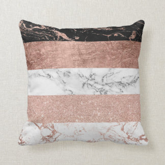 Modern chic color block rose gold marble stripes cushion