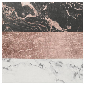 Modern chic color block rose gold marble stripes fabric