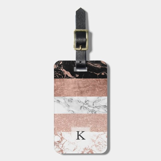 Modern chic colour block rose gold marble stripes