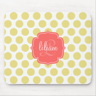 Modern Chic Coral Gold Dots Personalized Mouse Pads