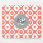 Modern Chic Coral Ikat Diamonds Personalised Mouse Mat