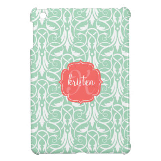Modern Chic Coral & Mint Green Damask Personalized iPad Mini Cases
