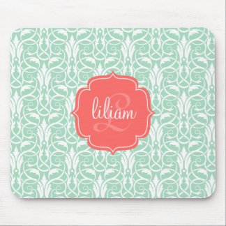Modern Chic Coral Mint Green Damask Personalized Mousepads