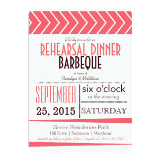 Modern Chic Coral Rehearsal Dinner Barbeque 13 Cm X 18 Cm Invitation Card