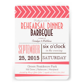 Modern Chic Coral Rehearsal Dinner Barbeque Personalized Invitations