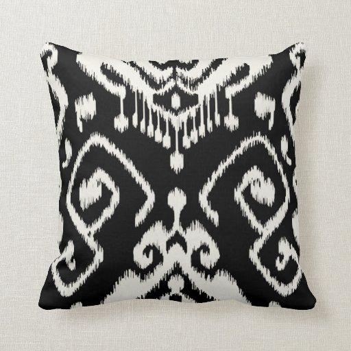 Black And White Decorative Throw Pillows : Modern chic decorative black and white ikat pillow throw cushions Zazzle