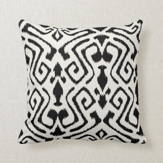 Modern chic decorative black and white ikat pillow throw cushions