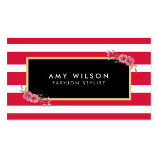 Modern Chic Fashion Stylist Pink Stripes Floral Pack Of Standard Business Cards