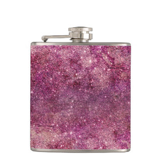 Modern chic faux glitter purple luxurious pattern hip flask