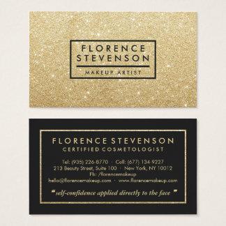 Modern chic faux gold glitter makeup artist beauty business card