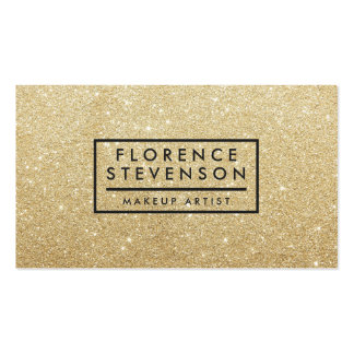 Modern chic faux gold glitter makeup artist beauty pack of standard business cards