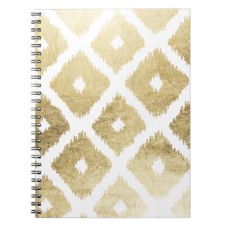 Modern chic faux gold leaf ikat pattern notebooks
