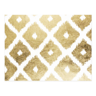 Modern chic faux gold leaf ikat pattern postcard
