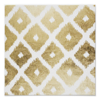 Modern chic faux gold leaf ikat pattern poster