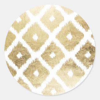 Modern chic faux gold leaf ikat pattern round sticker