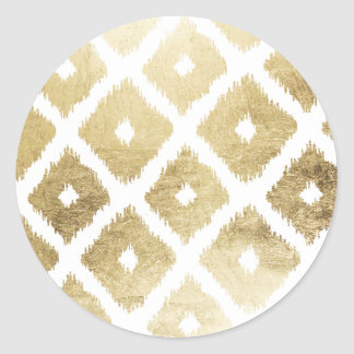 Modern chic faux gold leaf ikat pattern classic round sticker