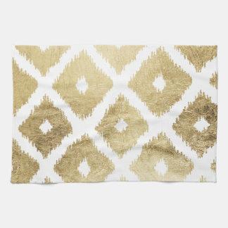 Modern chic faux gold leaf ikat pattern tea towel