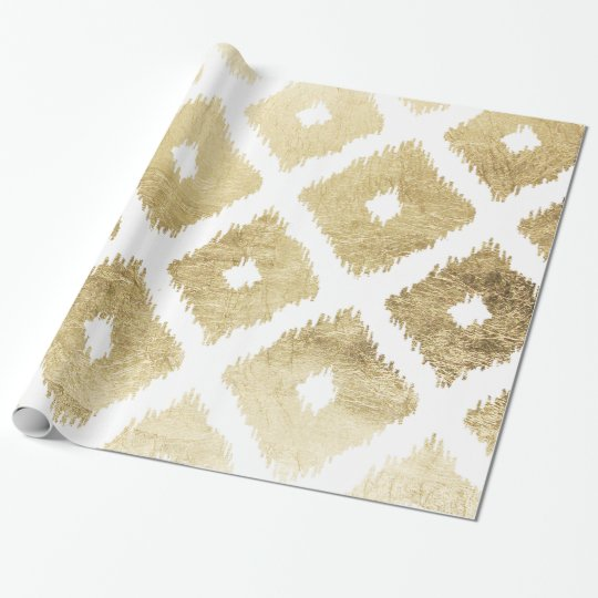 Modern chic faux gold leaf ikat pattern wrapping
