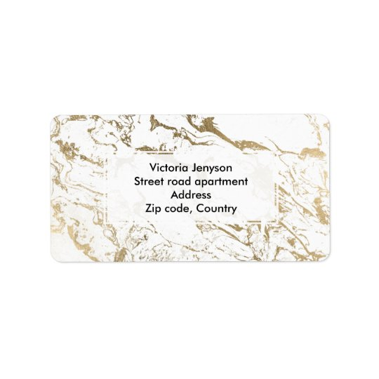 Modern chic faux gold white marble pattern address label