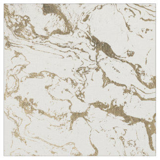 Modern chic faux gold white marble pattern fabric