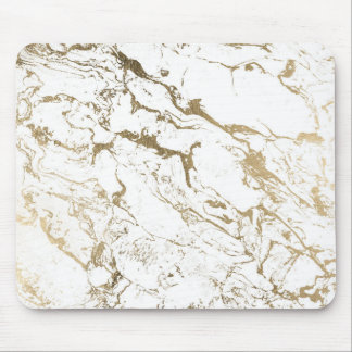 Modern chic faux gold white marble pattern mouse mat