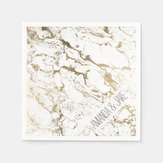 Modern chic faux gold white marble pattern paper napkin