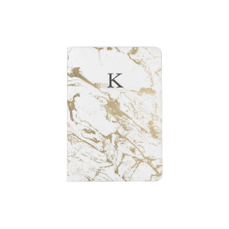 Modern chic faux gold white marble pattern passport holder