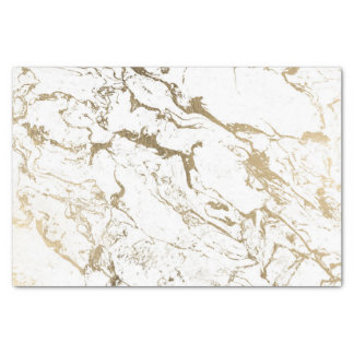 Modern chic faux gold white marble pattern tissue paper