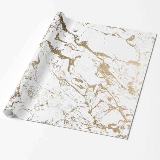 Modern chic faux gold white marble pattern wrapping