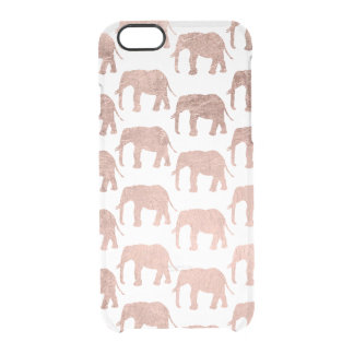 Modern chic faux rose gold elephant pattern clear iPhone 6/6S case