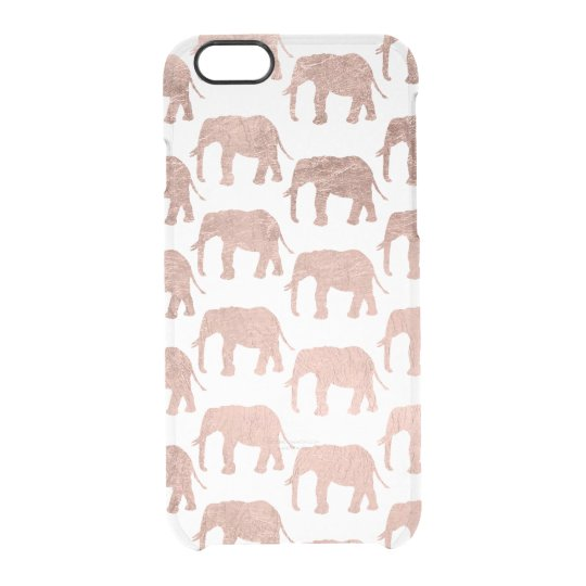 Modern chic faux rose gold elephant pattern clear